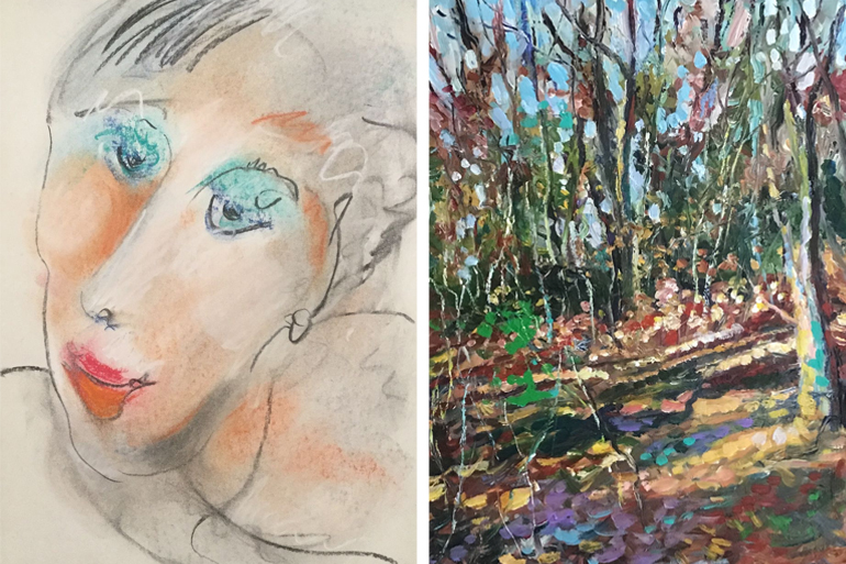 "Works by Artist Alliance of East Hampton members Nadine Daskaloff and Frank Sofo, available in the ""Colors of Hope"" virtual show, Photo: Courtesy AAEH"