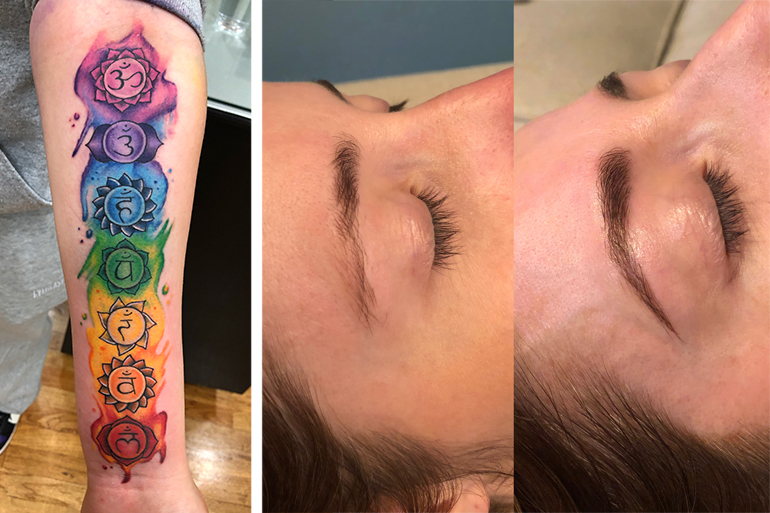 A tattoo design by Mike Maldonado, and a microblading before/after by Kat Maldonado, Photos: Courtesy Hamptons, Ink.