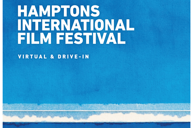 "The 2020 Hamptons International Film Festival poster, featuring world-renowned artist Bastienne Schmidt's ""Blue Horizon Grid,"" Image: HamptonsFilm"