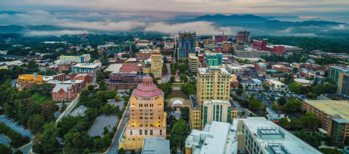 Drone Aerial of Downtown Asheville North Carolina NC Skyline