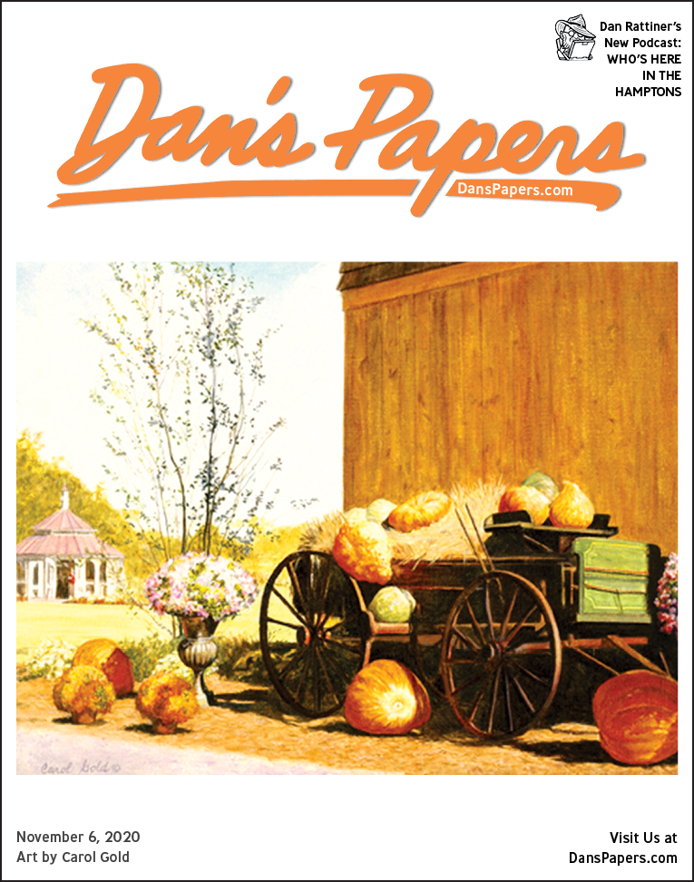 """Carol Gold's """"The Pumpkin Wagon"""" on the cover of the November 6, 2020 Dan's Papers issue"""