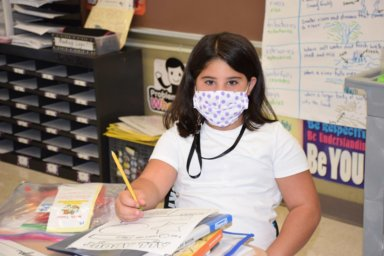 Riverhead Central School District students were all smiles on the first day of school, even behind their masks.