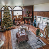 Moran Studio decorated for Victorian Christmas.