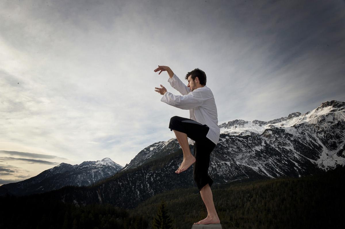 Man practicing qigong