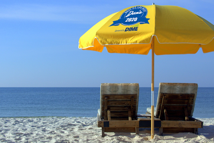 Two Beach Chairs with Yellow Umbrella