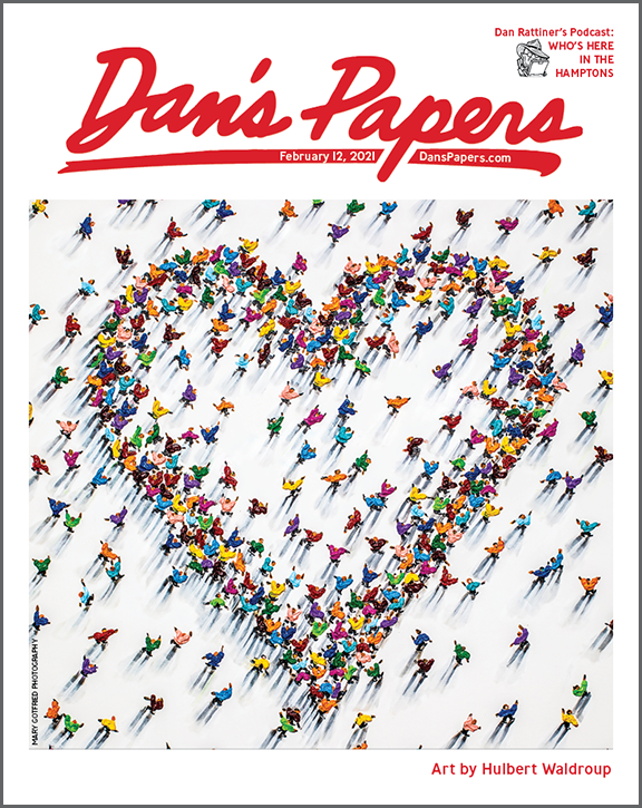 Hulbert Waldroup's art on the cover of the February 12, 2021 Dan's Papers issue.