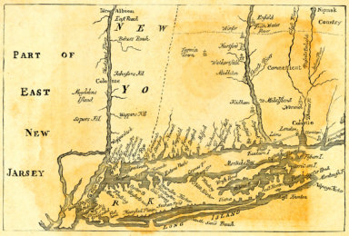 Vintage Map of New York at the beginning of the 18th Century
