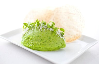 The Halyard Chef Stephan Bogardus's English Pea Hummus Credit: Courtesy The Halyard at Sound View Greenport
