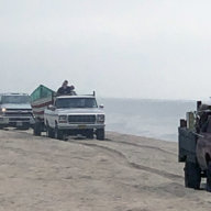 Protesters at Truck Beach in Amagansett on Sunday, June 27, 2021