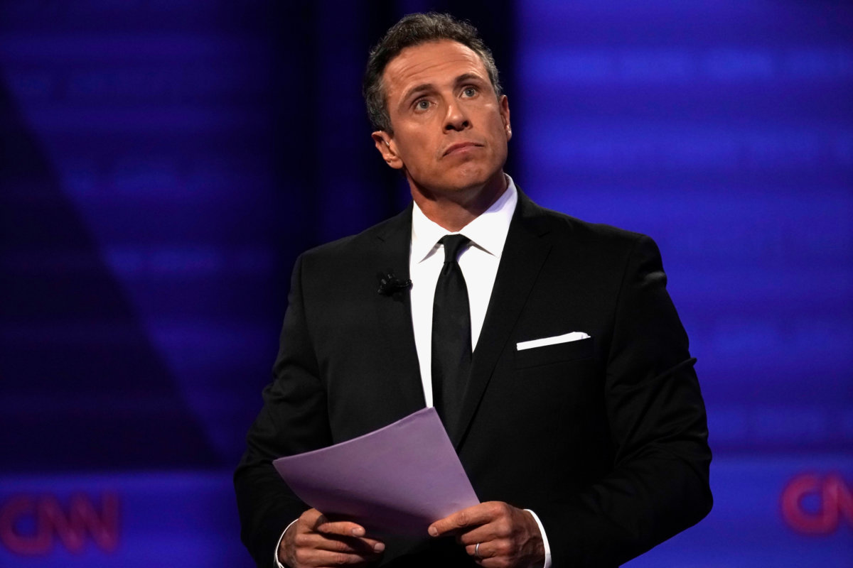 CNN's Chris Cuomo during a televised town hall with Democratic 2020 U.S. presidential candidate Senator Elizabeth Warren (D-MA) dedicated to LGBTQ issues in Los Angeles, California, U.S. October 10, 2019