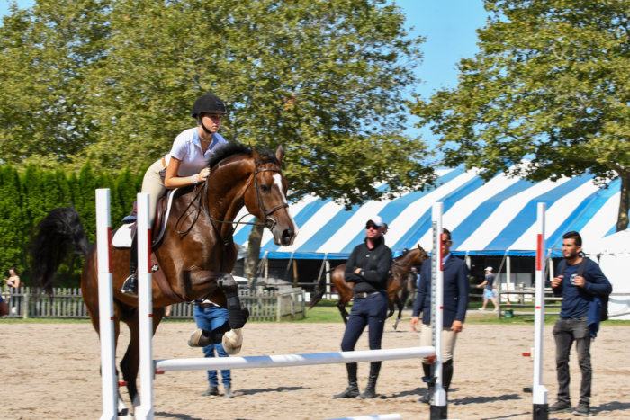 Samantha O'Brien jumping - she will compete at the Hampton Classic