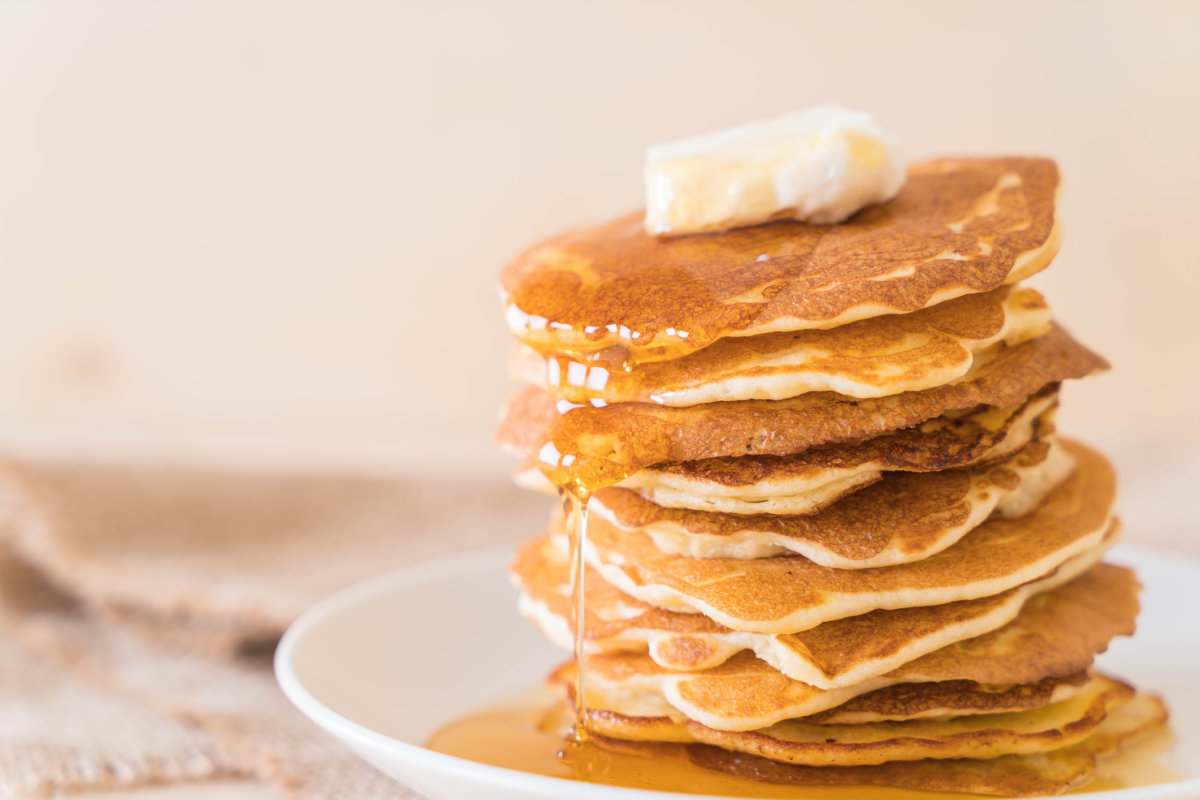 cheese on pancakes with honey