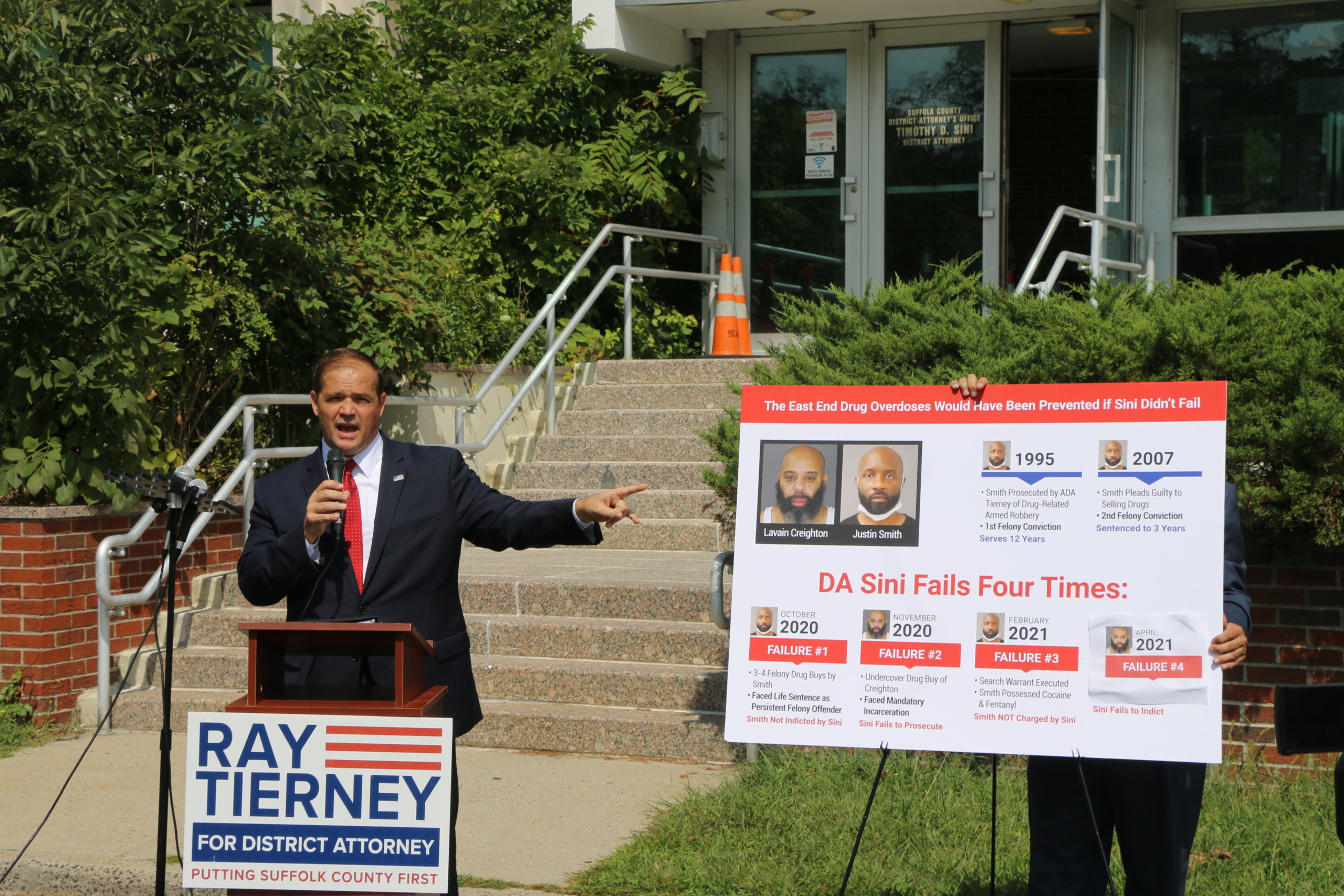 Ray Tierney held a press conference outside the Suffolk DA's office in Hauppauge on September 8.