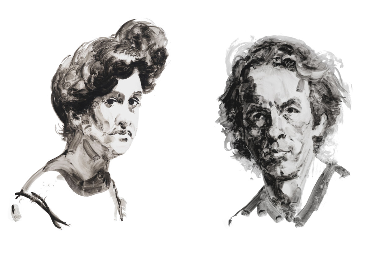 Daisy Tapley and Spalding Gray as depicted by Eric Fischl
